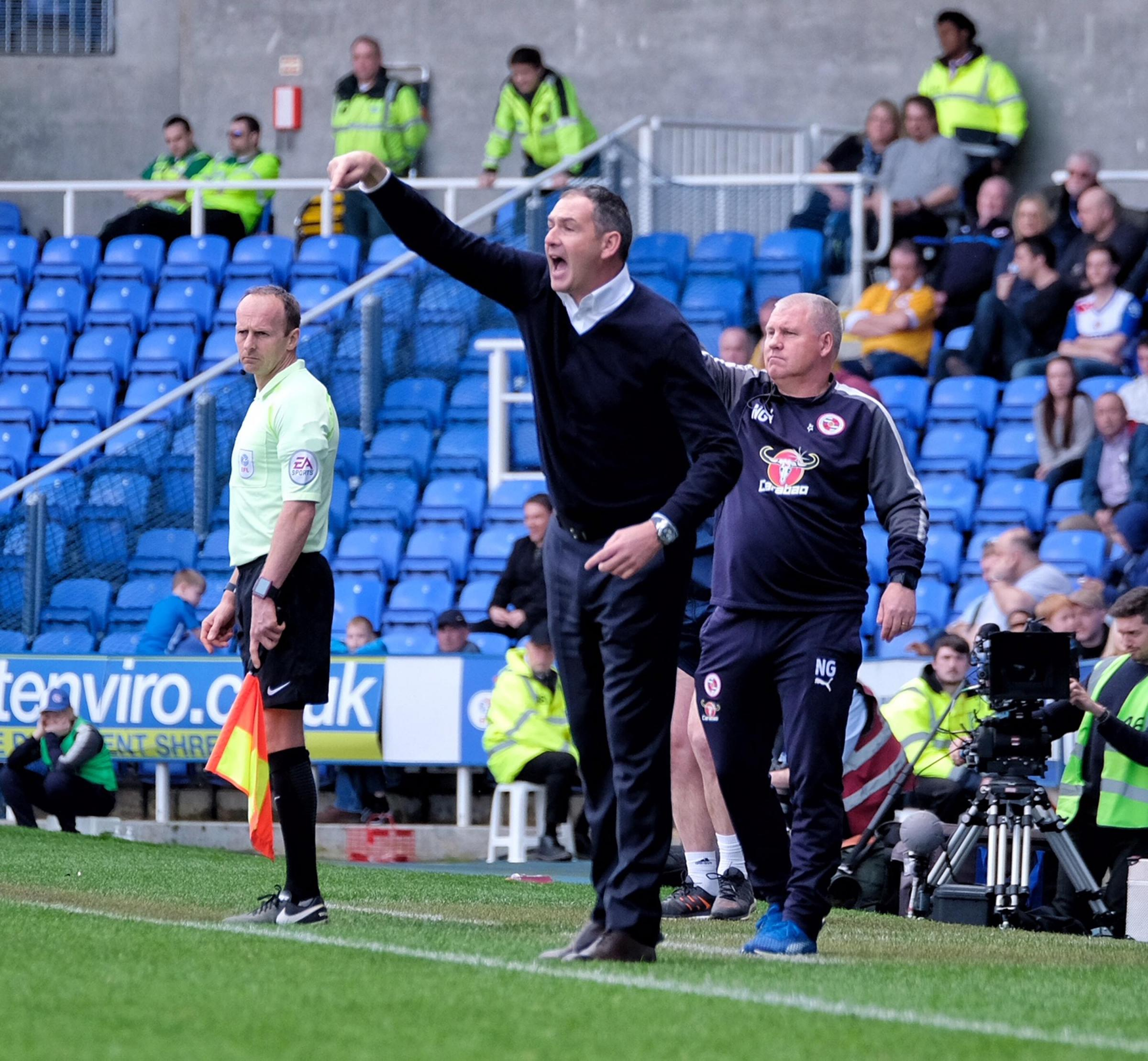 Royals boss Paul Clement gives orders on the touchline.
