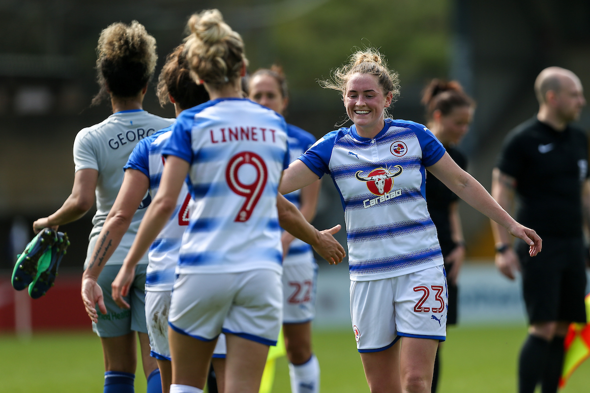 Rachel Rowe, No.23, is all smiles after Reading's victory over Everton. Pictures: Neil Graham.