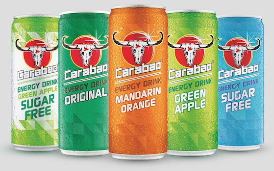 The full range of Carabao Energy Drinks.