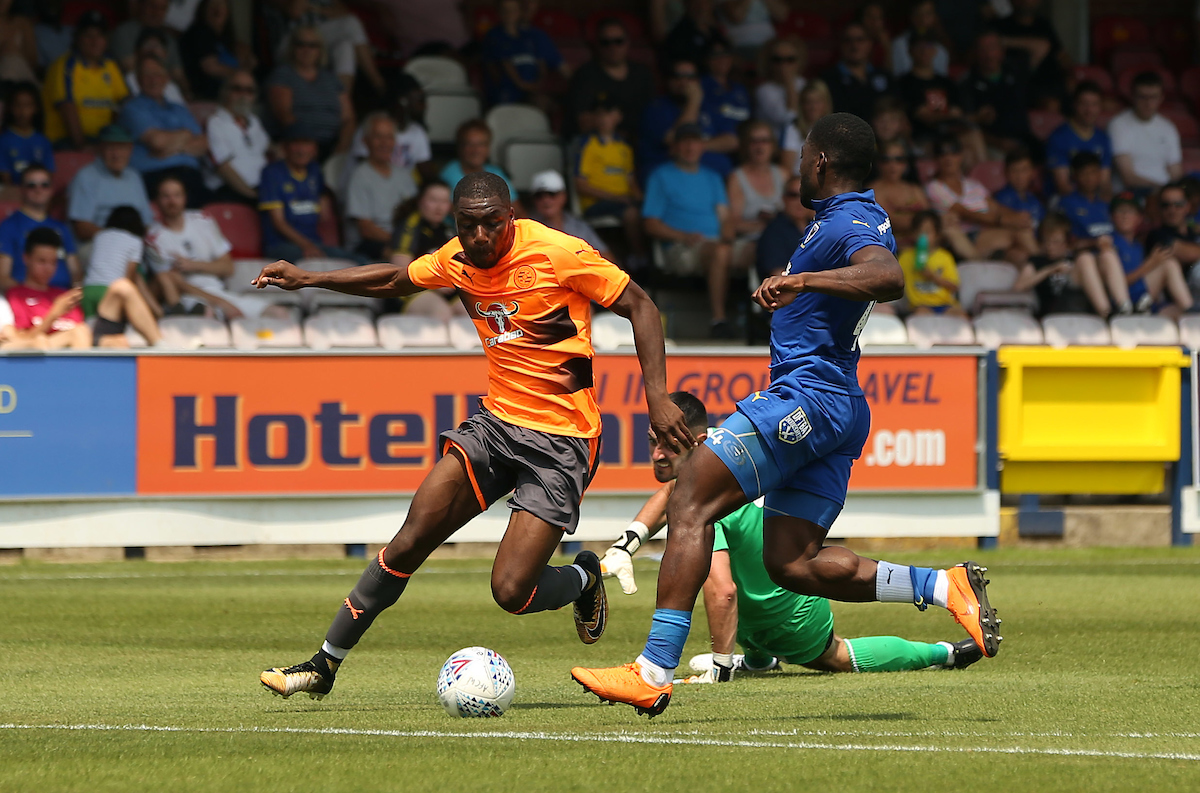 Yakou Meite rounds the Wimbledon keeper only to be dispossessed. Pictures: Jason Dawson/jasonpix.