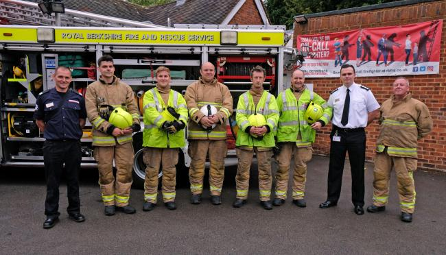 The Wargrave on call Firefighters, with Station Manager MAtthew Hoult 180769 Open Day at Wargrave Fire Station - Pictures: Mike Swift.