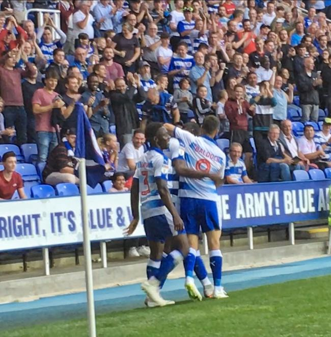 Reading celebrate Yakou Meite's goal against Birmingham. Pictures: Mike Swift.