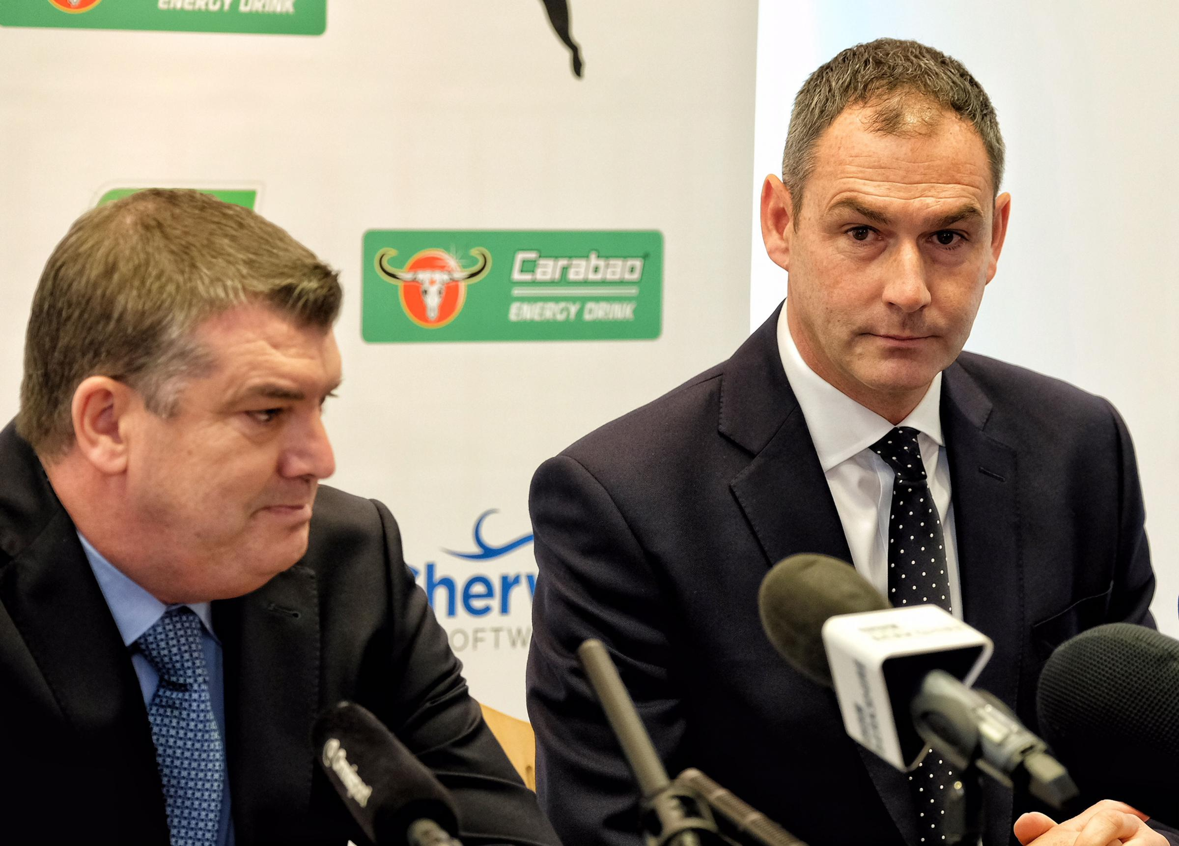 CEO Ron Gourlay, left, with manager Paul Clement.