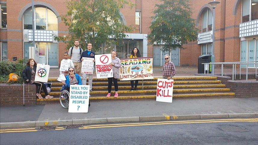 Protestors outside the council offices