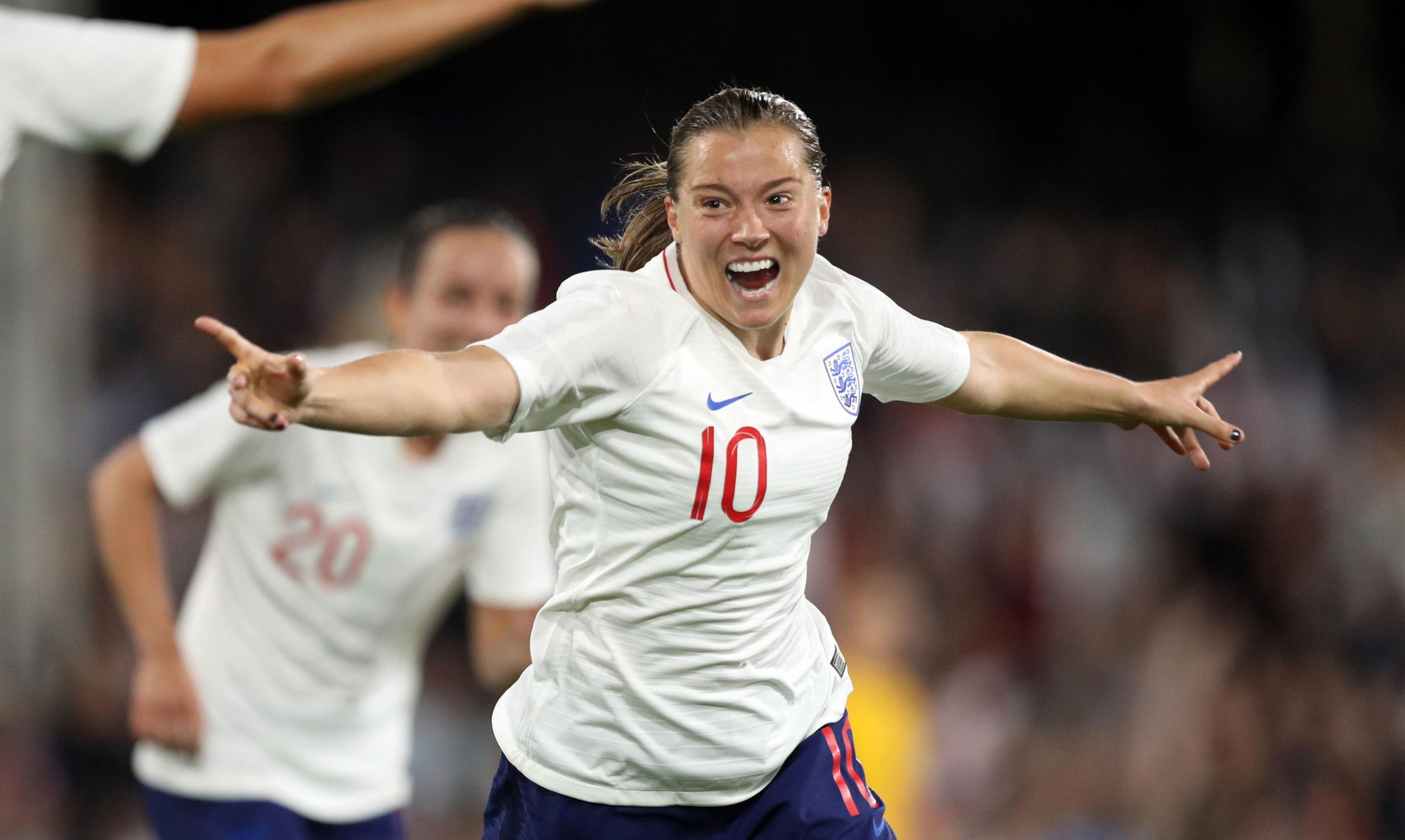 Fran Kirby celebrates scoring for Enjgland against Australia on Tuesday night. Picture: Andrew Matthews/PA Wire.