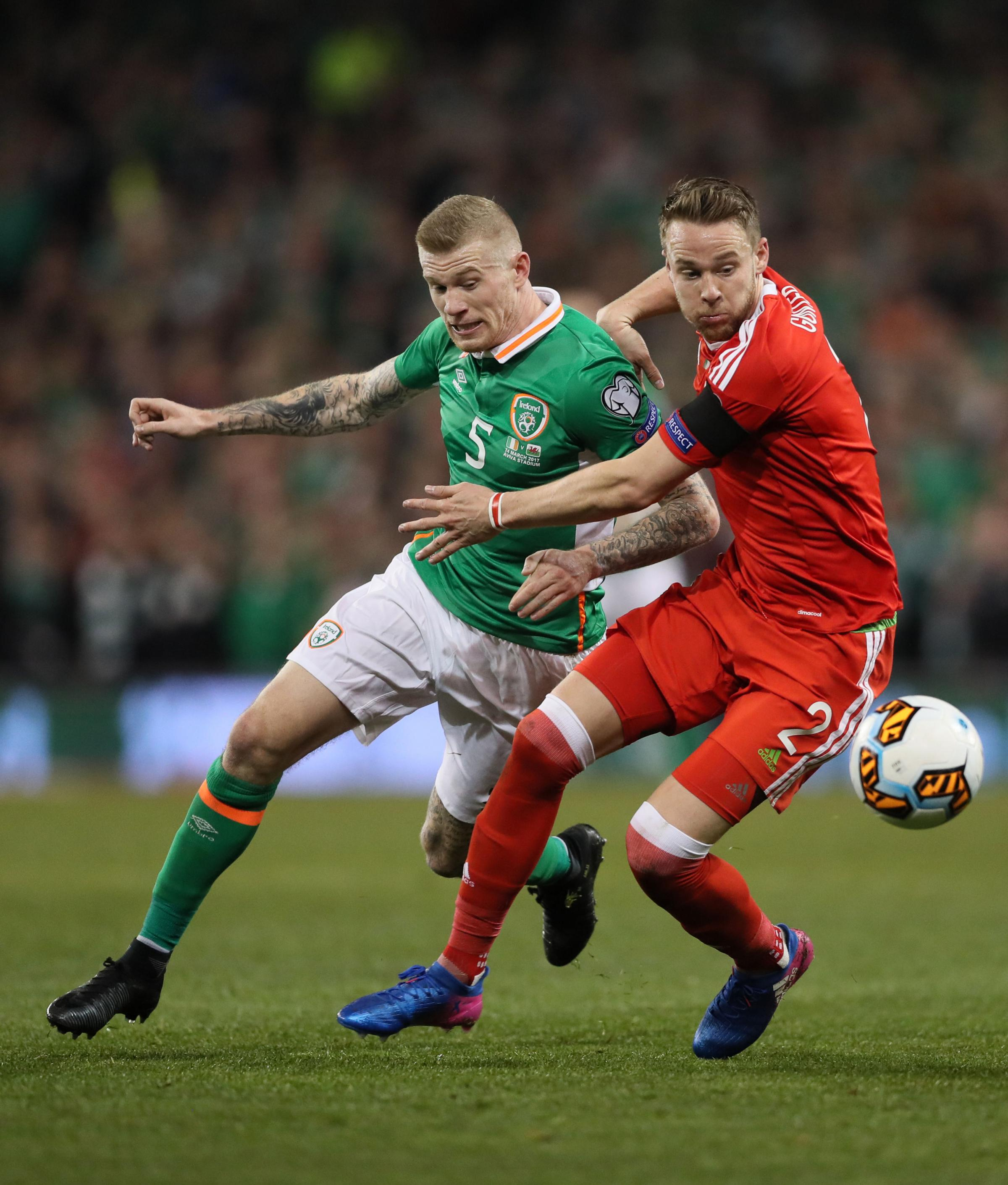 Chris Gunter earned his 91st Wales cap in the 1-0 win in Dublin on Tuesday night. Photo: PA Wire.