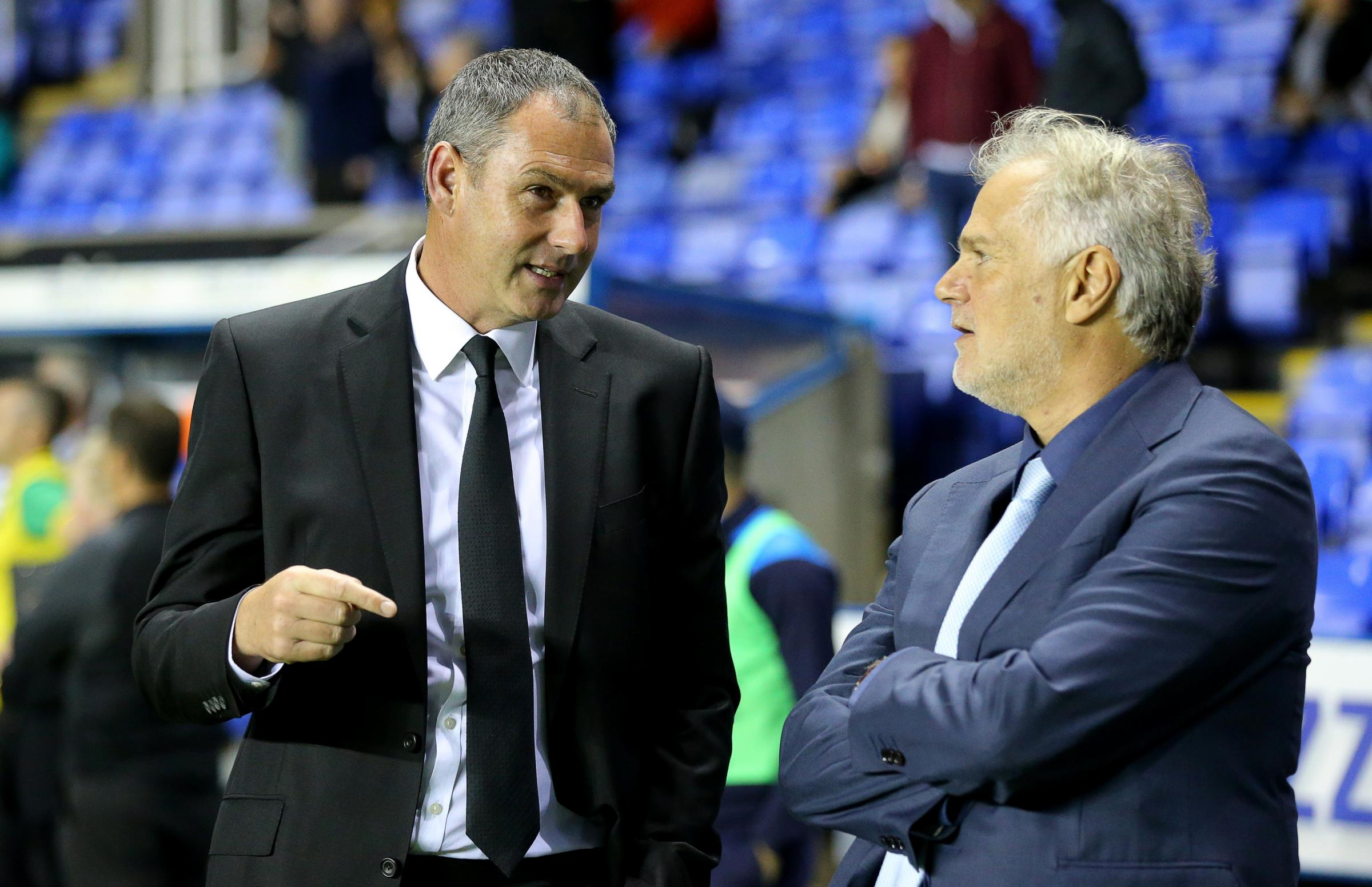 Paul Clement, left, talks tactics with Royals sporting director, Gianluca Nani