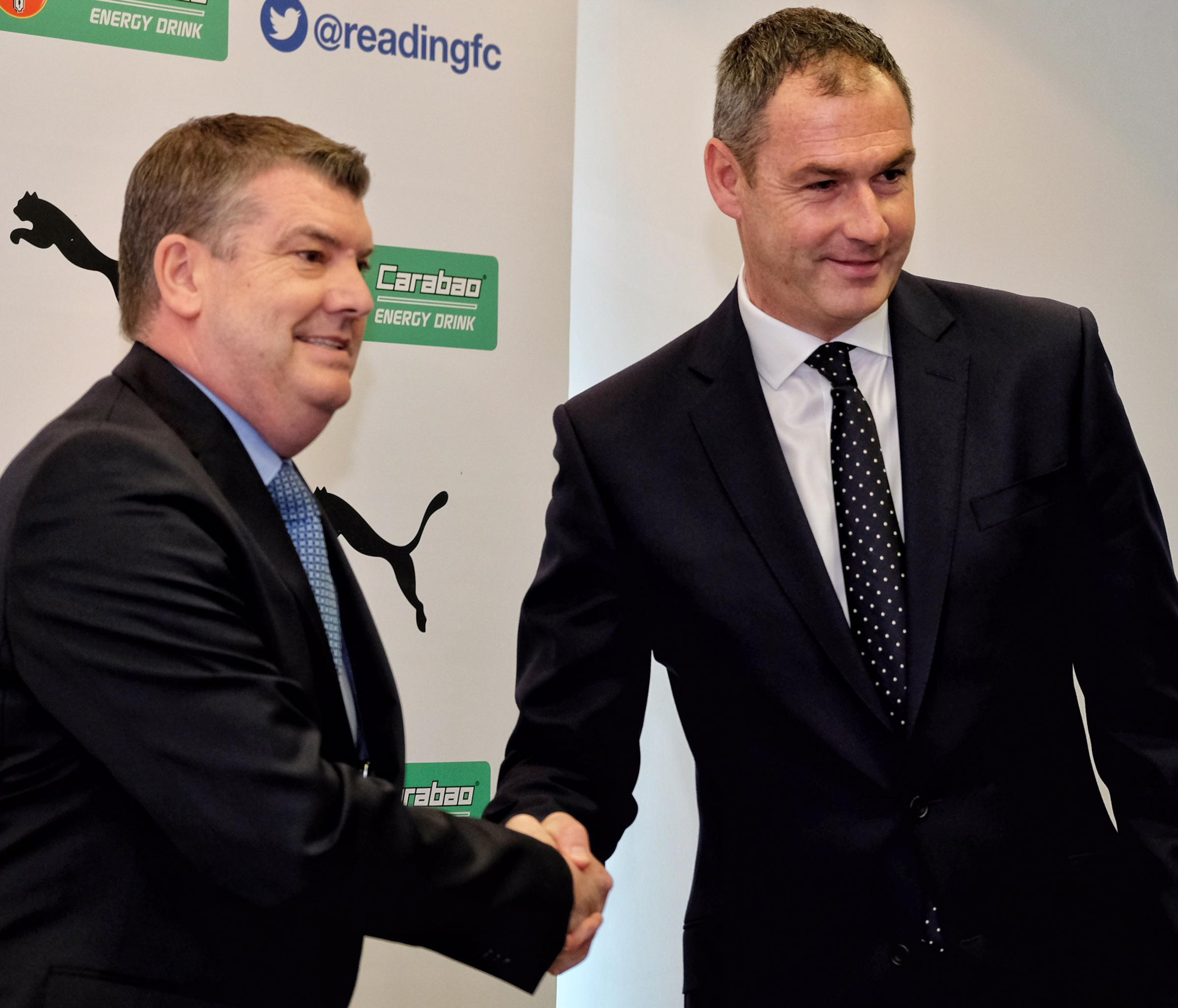 Chief executive Ron Gourlay, left, welcomes Paul Clement to Reading FC in March this year.
