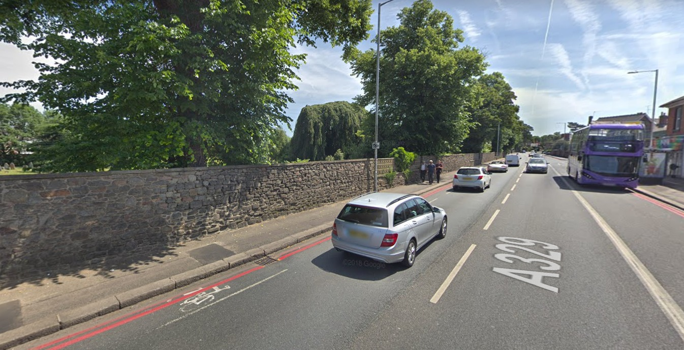 Photo: Google Street View. Current on-carriageway cycle lanes on Wokingham Road.