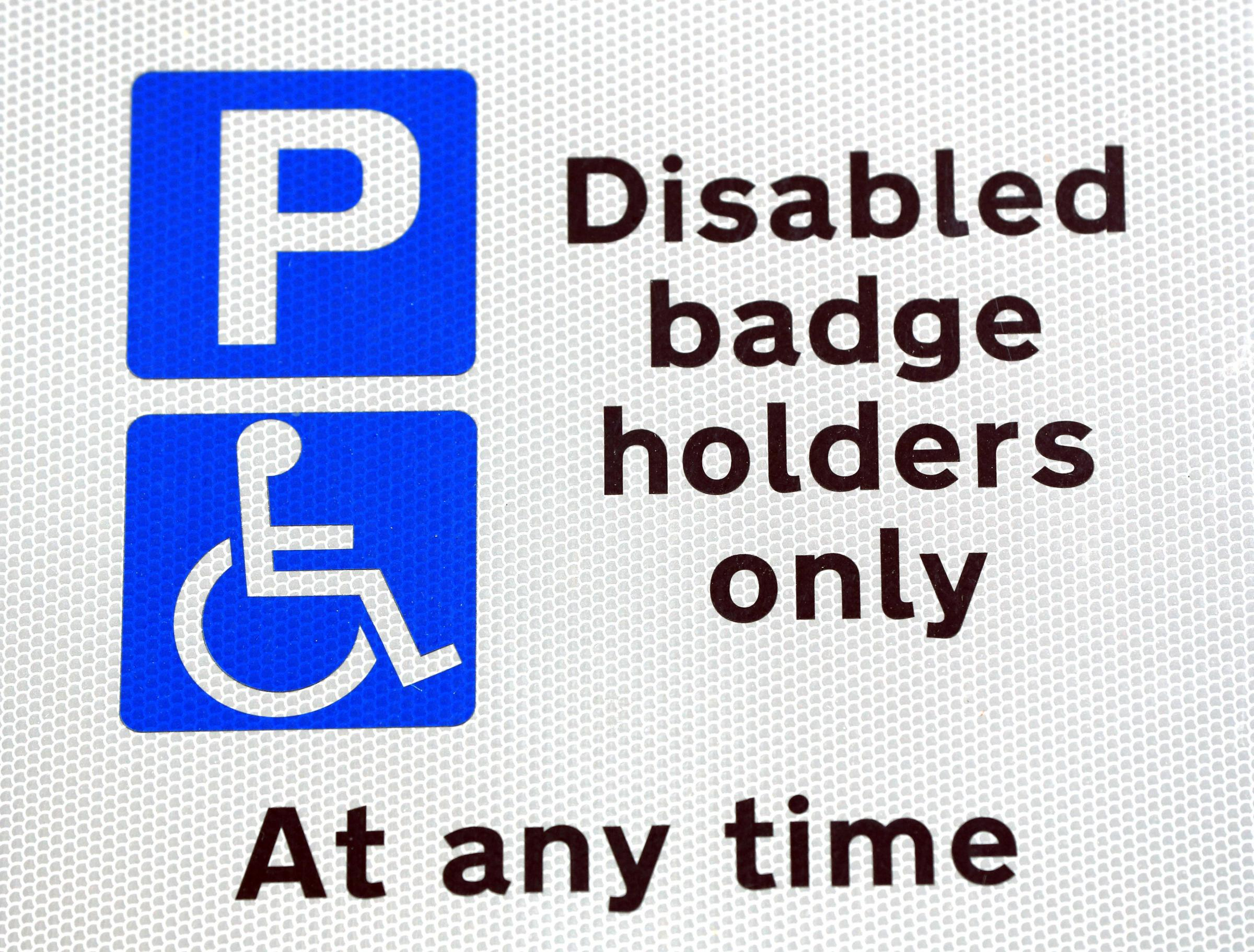 Embargoed to 0001 Monday December 31..File photo dated 20/09/16 of a disabled parking sign, as most councils failed to take action against a single motorist for misusing disabled parking permits in the past 12 months despite thefts soaring, figures show.