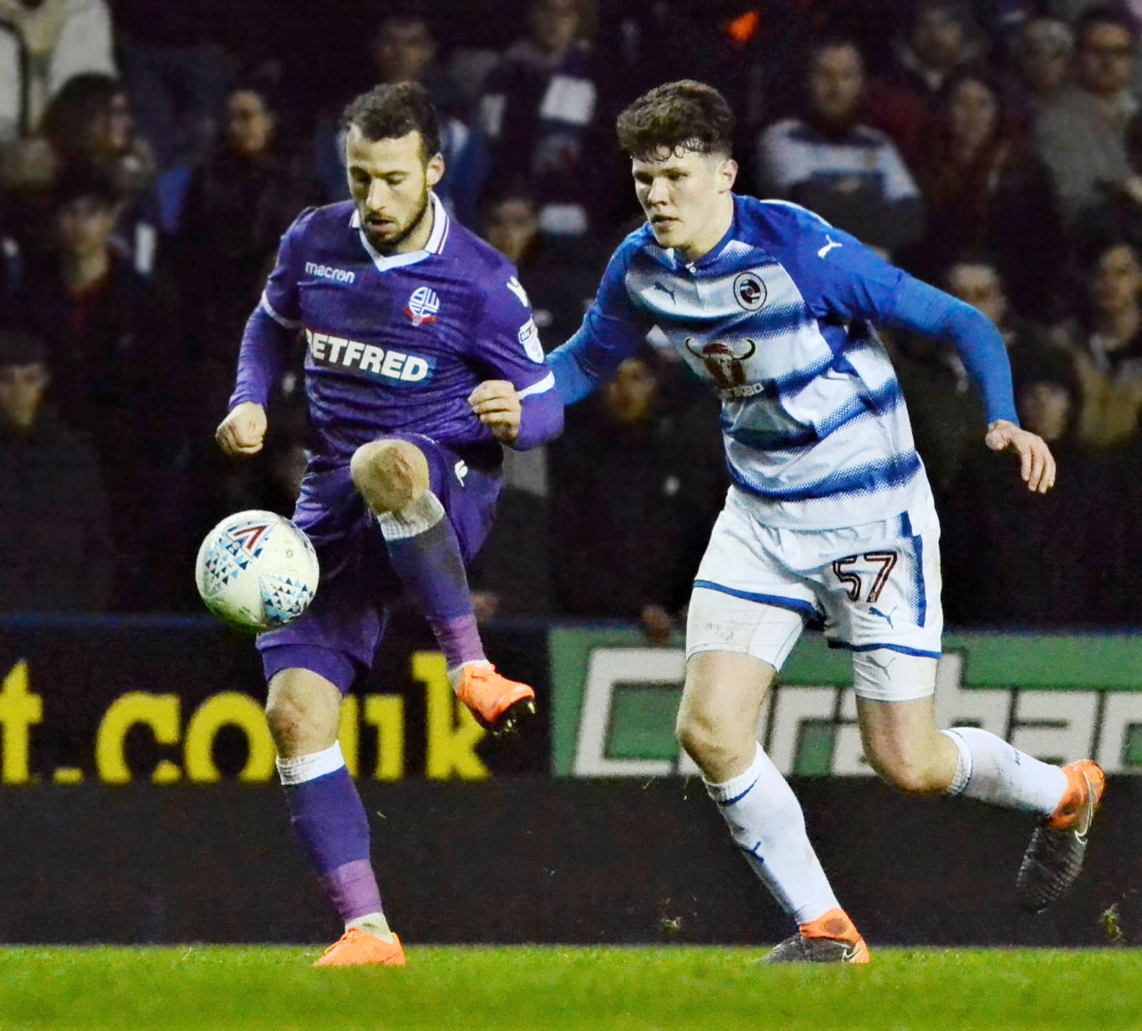Tom Holmes in action for Reading FC