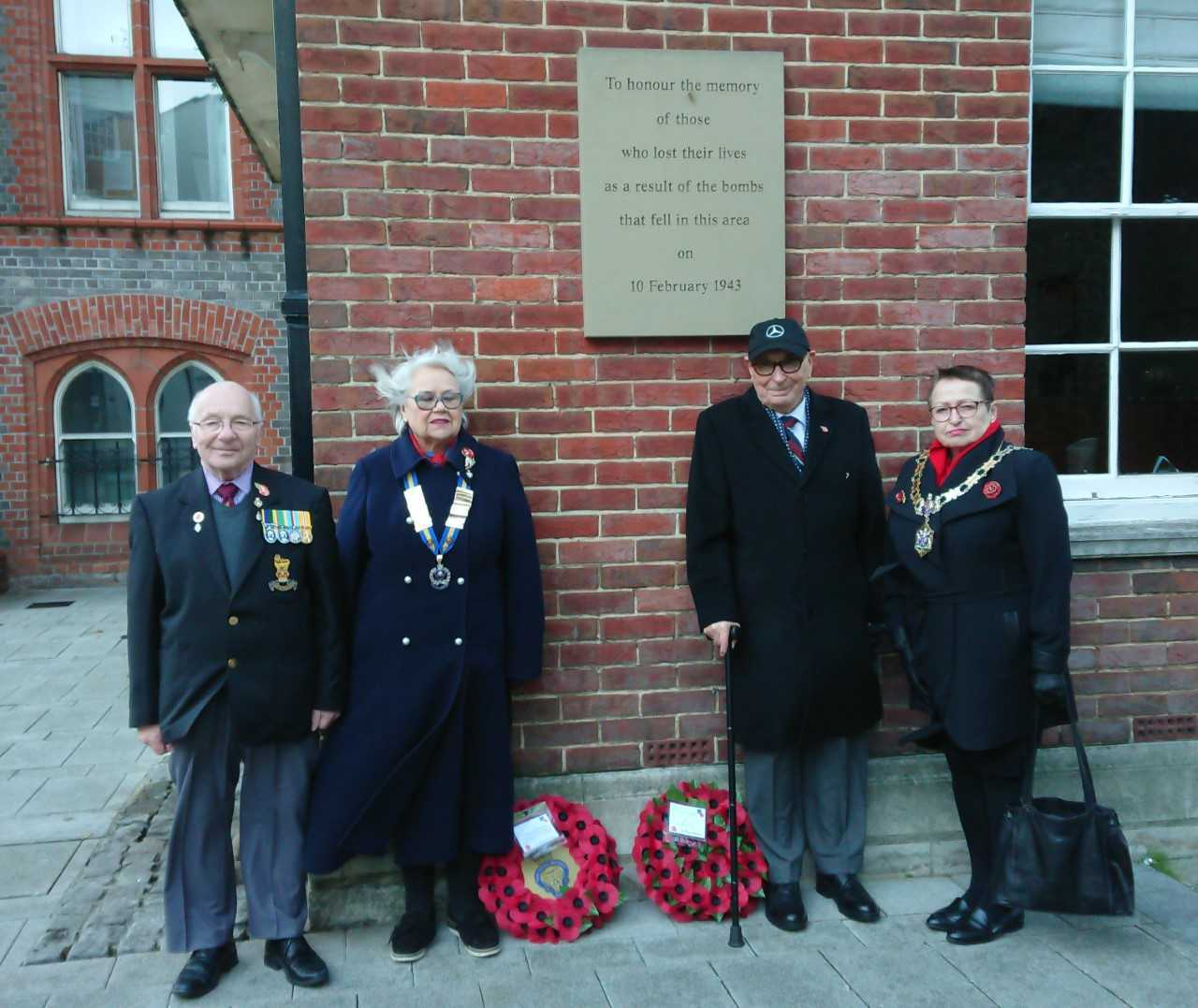 Mayor Debs Edwards (right) with representatives from the Royal British Legion