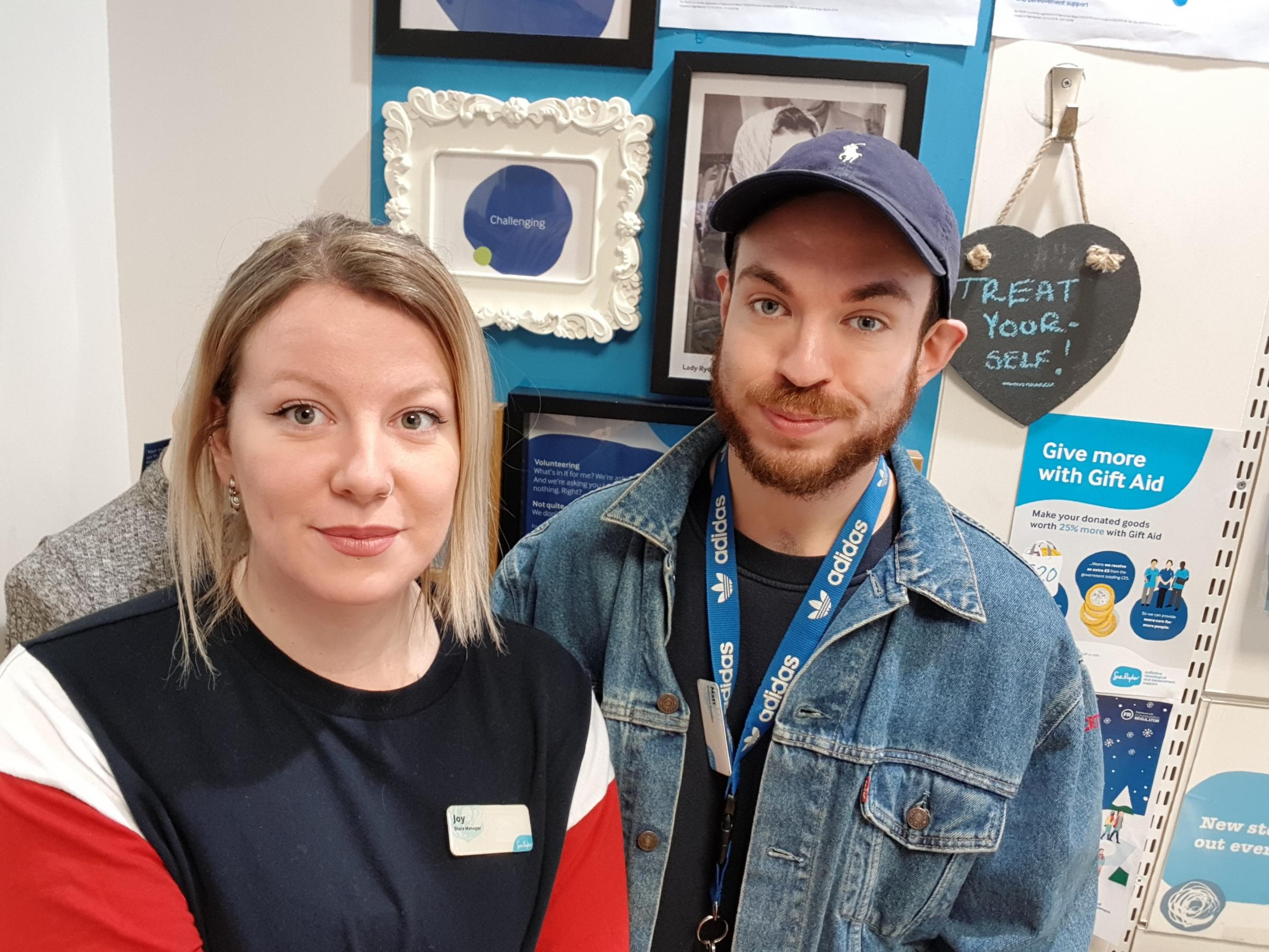 Sue Ryder Oxford Shop manager Joy and assistant manager Matt