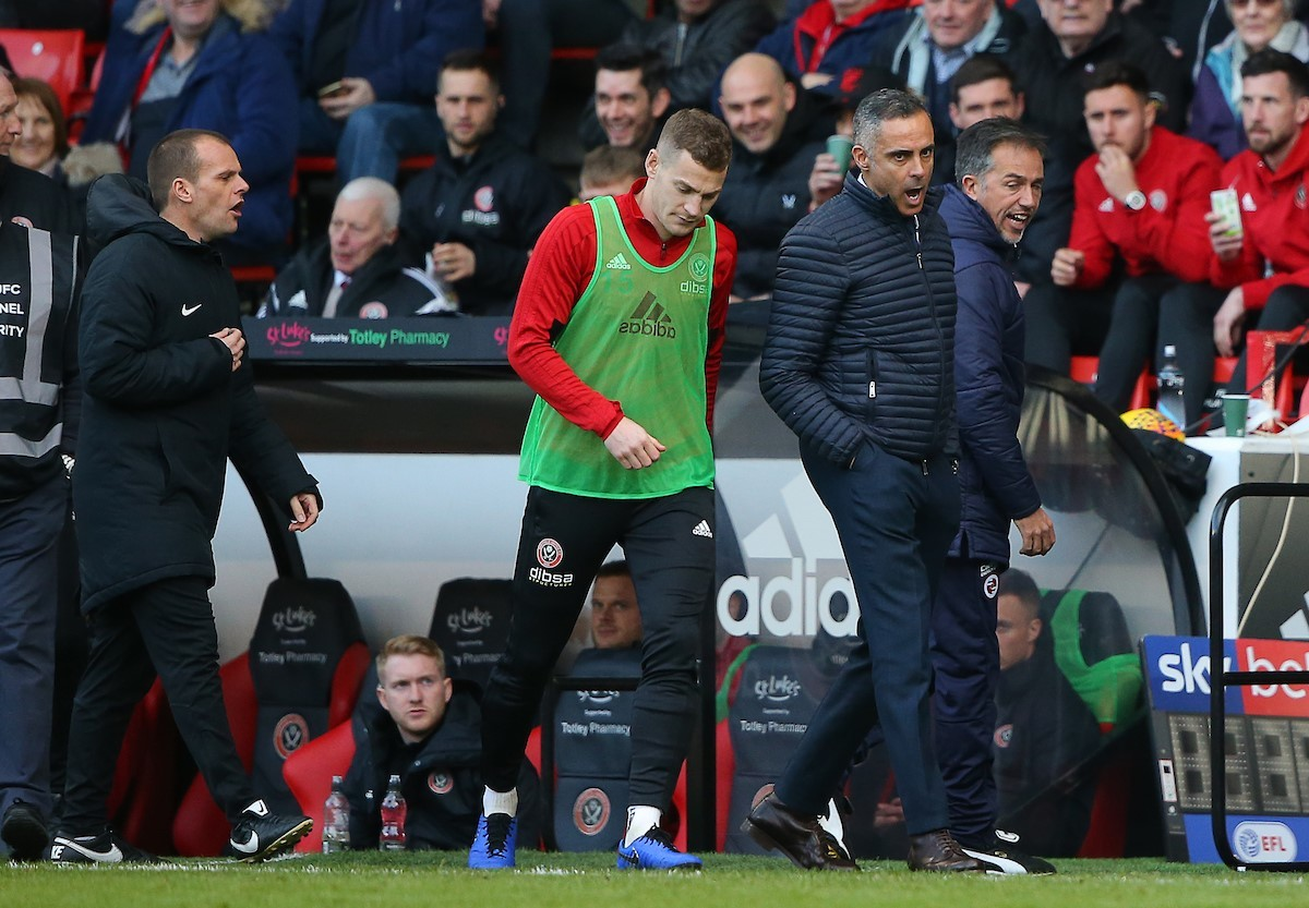 An angry Jose Gomes prowls the touchline during Reading's 4-0 defeat at Sheffield United. Pictures: Jasonpix