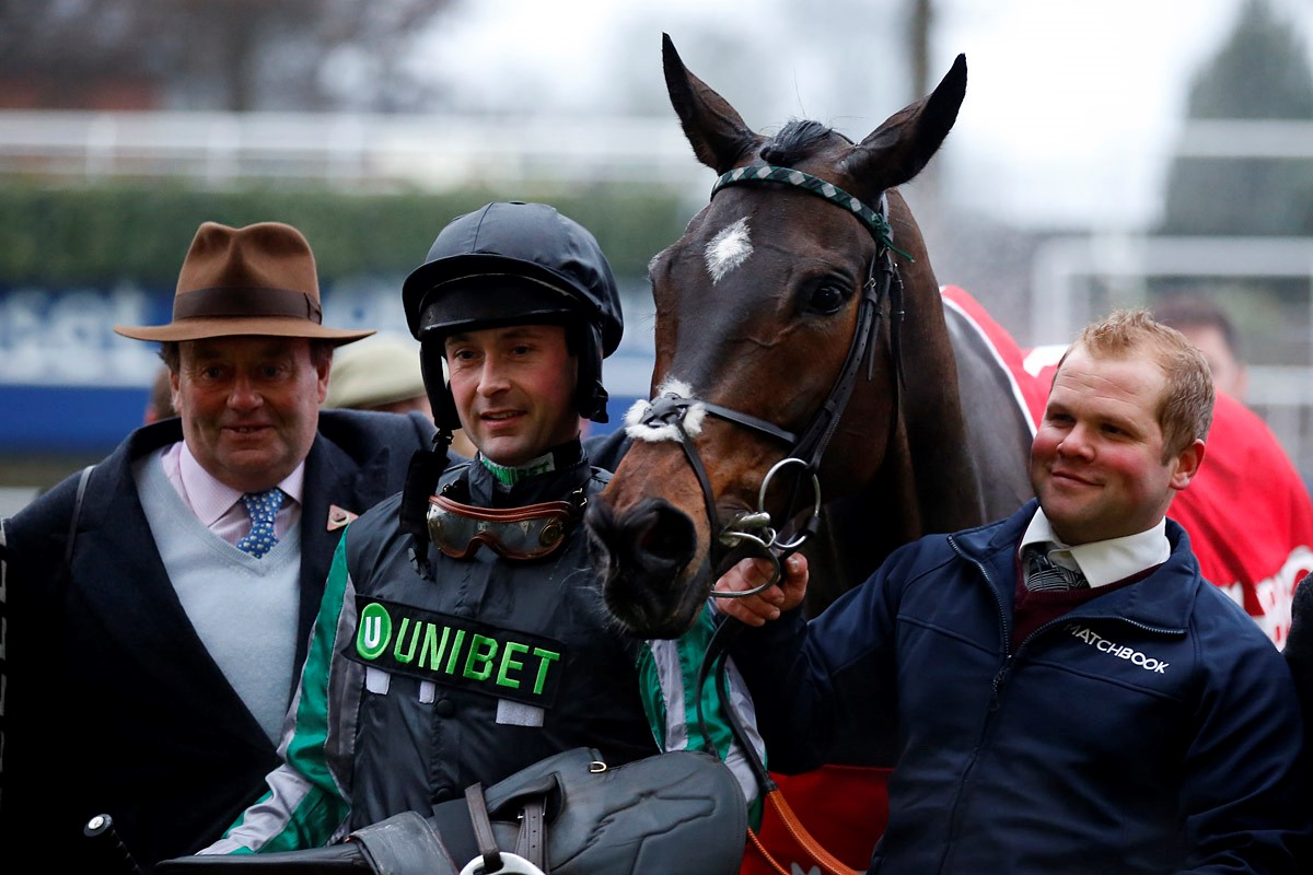 Altior with trainer Nicky Henderson, left, and jockey Nico de Boinville. Picture: Sue Orpwood.