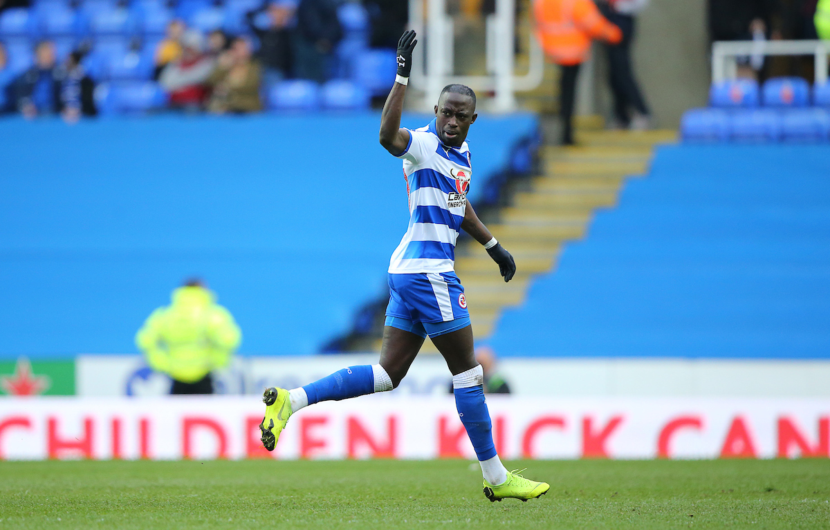 Mo Barrow gets the Reading crowd going after equalising against Wigan on Saturday. Pictures: Jasonpix