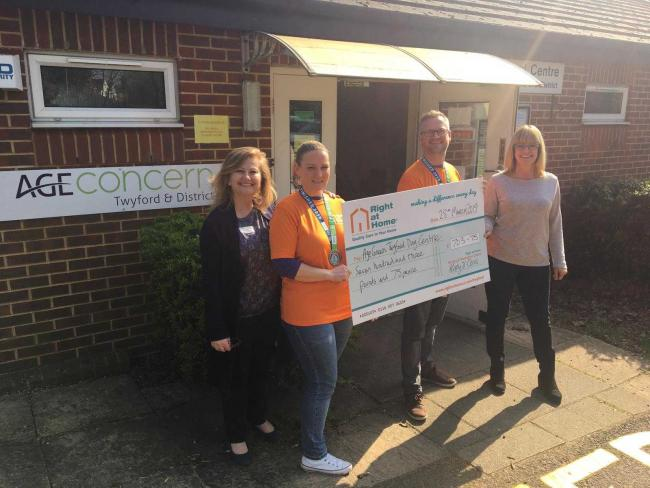 The couple presented the donation to the team at Twyford