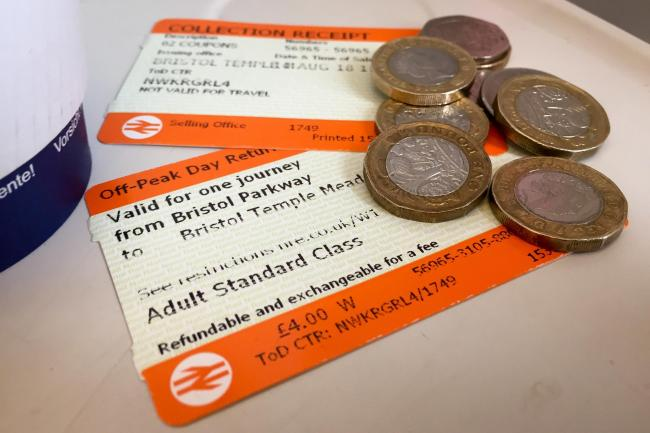 Off-peak rail tickets and coins