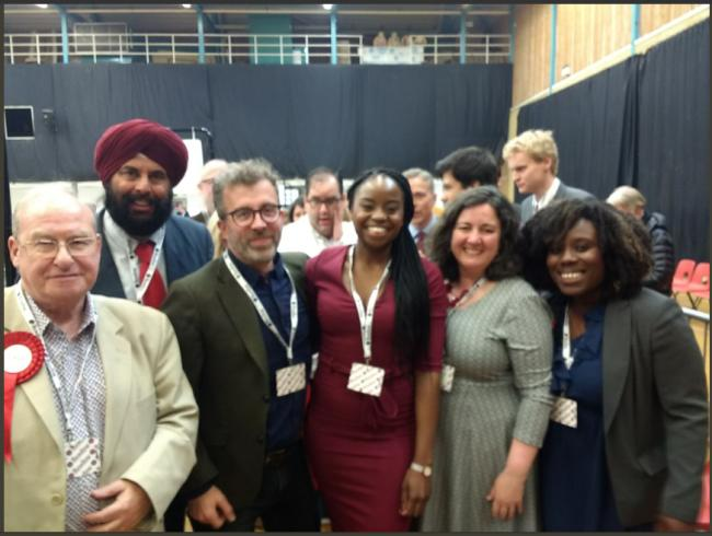 Cllr Ayo Sokale celebrates after winning Caversham from the Conservatives