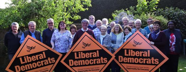 Liberal Democrats leader Lindsay Ferris (centre) with some of the new Earley Town Council candidates