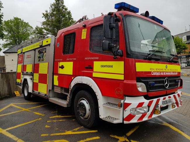 A fire engine outside Crowthorne station